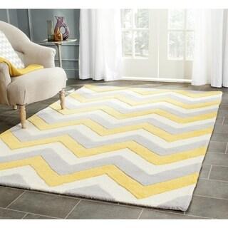 Safavieh Handmade Cambridge Grey/ Gold Wool Rug (8' Square)