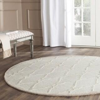 Hand-Tufted Safavieh Cambridge Light Grey/ Ivory Wool Rug (8' Round)