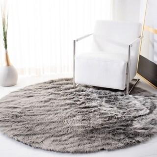 Safavieh Handmade Faux Sheepskin Grey Japanese Acrylic Rug (4' Round)