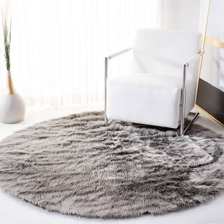 Safavieh Handmade Faux Sheepskin Grey Japanese Acrylic Rug (4' Round)|https://ak1.ostkcdn.com/images/products/11733091/P18651069.jpg?impolicy=medium