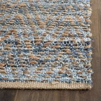 Safavieh Cape Cod Handmade Natural / Blue Jute Natural Fiber Rug - 8' Square