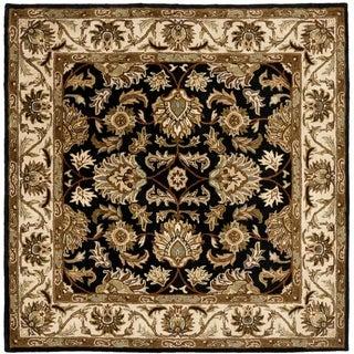 Safavieh Handmade Heritage Traditional Kashan Black/ Beige Wool Rug (4' Square)