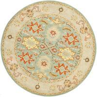 Safavieh Handmade Heritage Timeless Traditional Light Blue/ Ivory Wool Rug - 10' Round