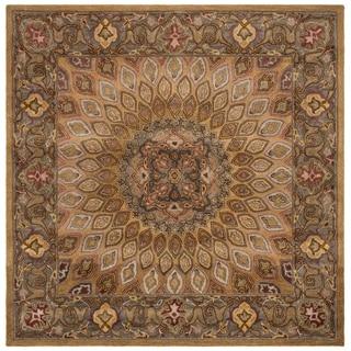 Safavieh Handmade Heritage Timeless Traditional Light Brown/ Grey Wool Rug (7' Square)