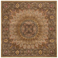 Safavieh Handmade Heritage Timeless Traditional Light Brown/ Grey Wool Rug - 7' x 7' Square