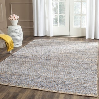 Safavieh Cape Cod Handmade Natural / Blue Jute Natural Fiber Rug (8' Square)