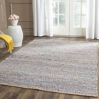 Safavieh Cape Cod Handmade Natural / Blue Jute Natural Fiber Rug - 8' x 8' Square