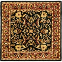 Safavieh Handmade Heritage Timeless Traditional Black/ Red Wool Rug - 4' x 4' Square