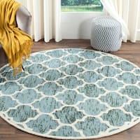 Safavieh Handmade Himalaya Turquoise/ Ivory Trellis Wool Rug - 6' Round