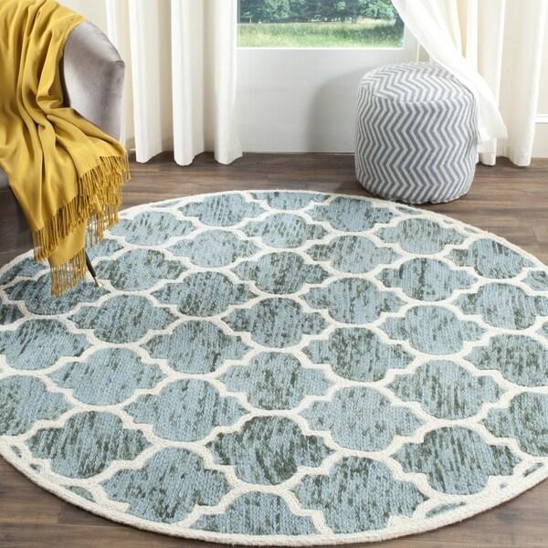 Safavieh Handmade Himalaya Turquoise/ Ivory Geometric Wool