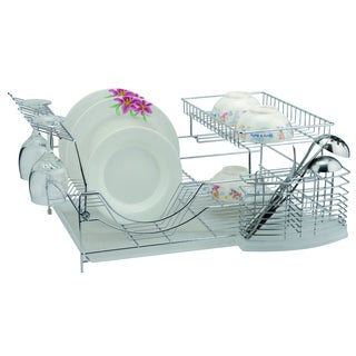 Chrome 18.5 inch Dish Rack with Utensil Holder, Cup Rack and Tray
