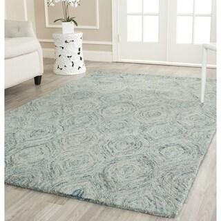 Safavieh Handmade Ikat Ivory/ Sea Blue Wool Rug (4' Square)
