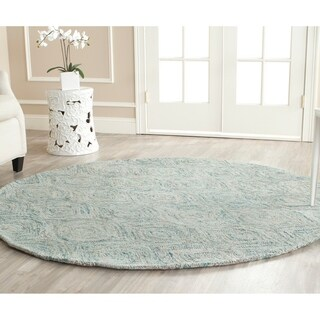 Safavieh Handmade Ikat Ivory/ Sea Blue Wool Rug - 4' Round