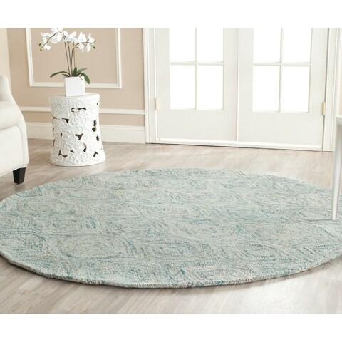 Safavieh Handmade Ikat Ivory/ Sea Blue Wool 8 Foot Round Rug - 8' x 8' Round
