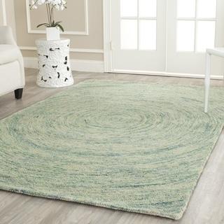 Safavieh Handmade Ikat Ivory/ Blue Wool Rug (8' Square)