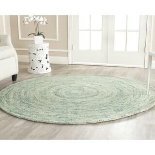Safavieh Handmade Ikat Ivory/ Blue Wool Rug - 4' Round
