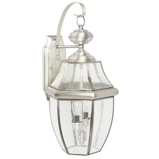Quoizel Newbury with Seedy Glass Large Silver Wall Lantern
