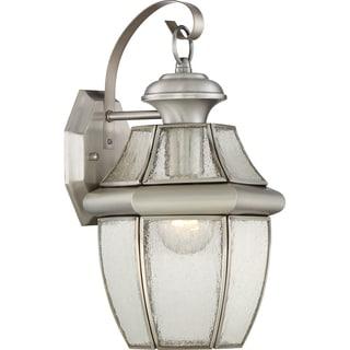 Quoizel Newbury with Seedy Glass Large Silver Wall Lantern