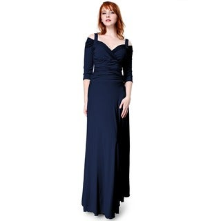 Evanese Women's Elegant Long Dress X-Large Size in Creme (As Is Item)