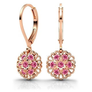 Lucia Costin Sterling Silver Pink Swarovski Crystal Earrings with Flower