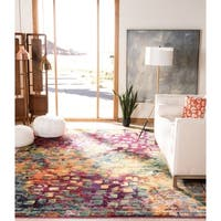 Safavieh Monaco Abstract Watercolor Pink/ Multi Distressed Rug - 9' x 9' square