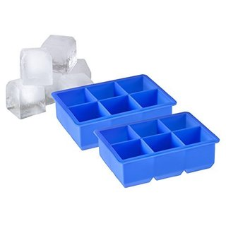 Sorbus 6 Cavity Jumbo Silicone Ice Cube Tray, Set of 2