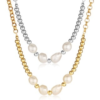 ELYA Fresh Water Pearl Beads Stainless Steel Rolo Chain Necklace