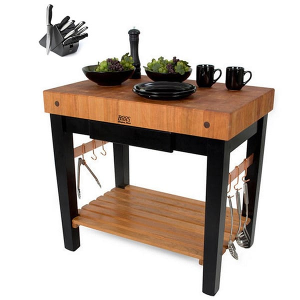 Shop John Boos RN-PPB3030-D Block End Grain Cherry Top Table and Drawer 30x30 and Henckels 13 ...