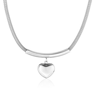 High Polish Hollow Heart Stainless Steel Pendant Necklace