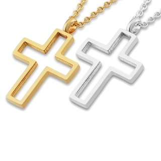 Polished Open Cross Stainless Steel Pendant Necklace