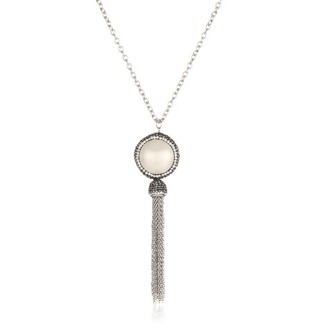 ELYA Faux Pearl Halo Stainless Steel Tassel Pendant Necklace