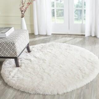 Safavieh Handmade Arctic Shag White Polyester Rug (7' Round)
