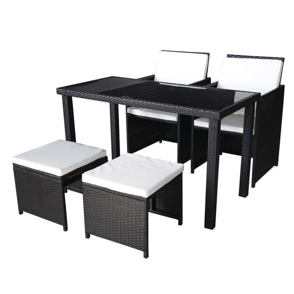 Black Outdoor Wicker Chairs, Benches and Dining Table 5 Piece Set ...
