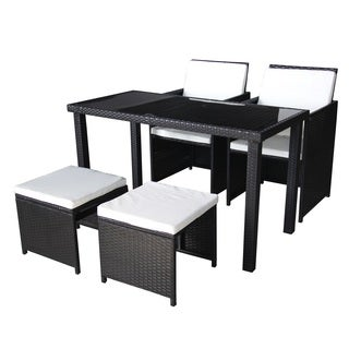 Black Outdoor Wicker Chairs, Benches and Dining Table 5 Piece Set