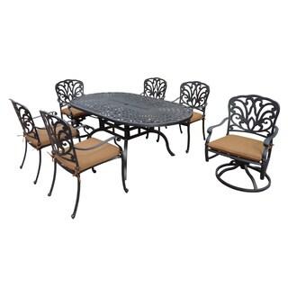 Sunbrella Aluminum 7 Piece Oval Outdoor Patio Dining Set (72 x 42)