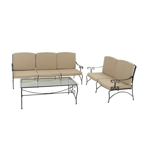 Metal frame outdoor sofa set of 3 free shipping today for Outdoor sectional sofa metal