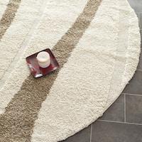 Safavieh Willow Contemporary Cream/ Brown Shag Rug (5' Round)
