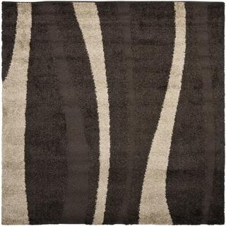 Safavieh Willow Contemporary Dark Brown/ Beige Shag Rug (5' Square)
