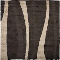 Safavieh Willow Contemporary Dark Brown/ Beige Shag Rug - 5' x 5' square