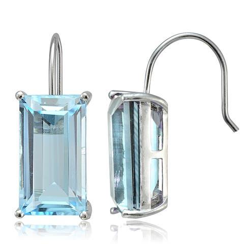 Glitzy Rocks Sterling Silver Gemstone Baguette Dangle Earrings