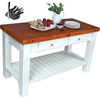 John Boos Grazzi Kitchen Island with Cherry Butcher Block Top and Henckels 13 Piece Knife Set