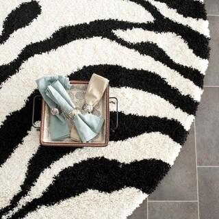 Safavieh Zebra Shag Ivory/ Black Rug (5' Round)