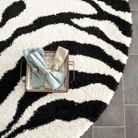 Safavieh Zebra Shag Off-White/ Black Rug (5' Round)