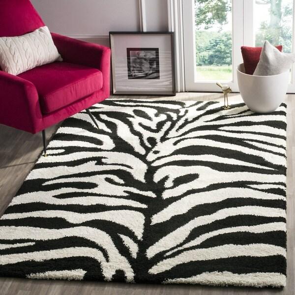 Safavieh Zebra Shag Off-White/ Black Rug - 5' x 5' Square