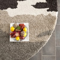Safavieh Camouflage Shag Beige/ Multicolored Rug - 5' Round