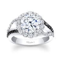 Barkev's Designer 14k White Gold 2 1/5ct TDW Black and White Diamond Halo Engagement Ring