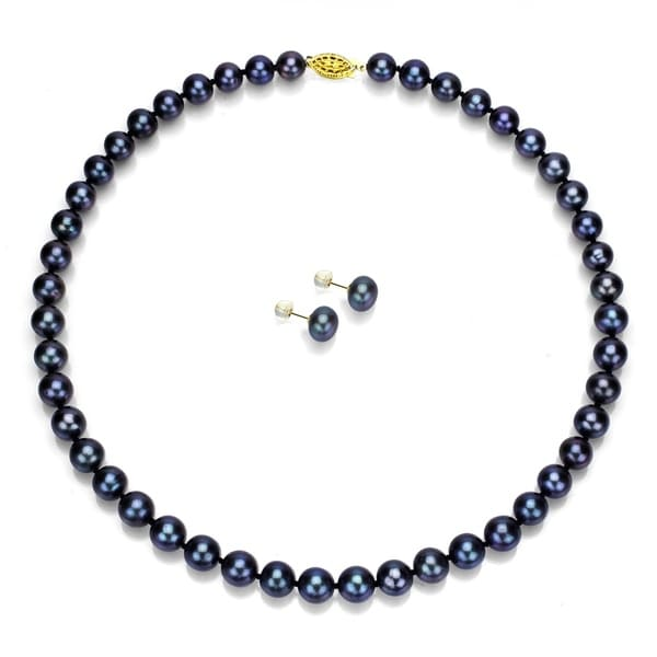 Davonna 14k Gold 8 9mm Black Pearl Necklace And Earring Set 18