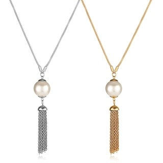 ELYA Faux Pearl Stainless Steel Tassel Pendant Necklace
