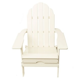 TIAB White Finish Polypropelen Folding Adirondack Chair