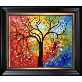 Celito Medeiros 'Rainbow Tree' Hand Painted Framed Canvas Art